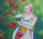 Painting of New Zealand Apple Picker