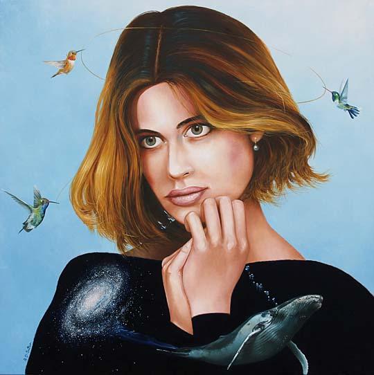 Surrealist portrait artwork