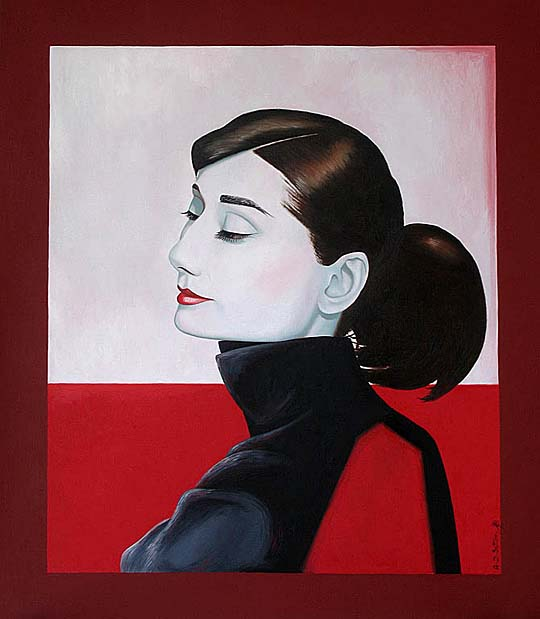 portrait painting of Audrey Hepburn