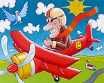 Kids art print of Baron flying his red plane