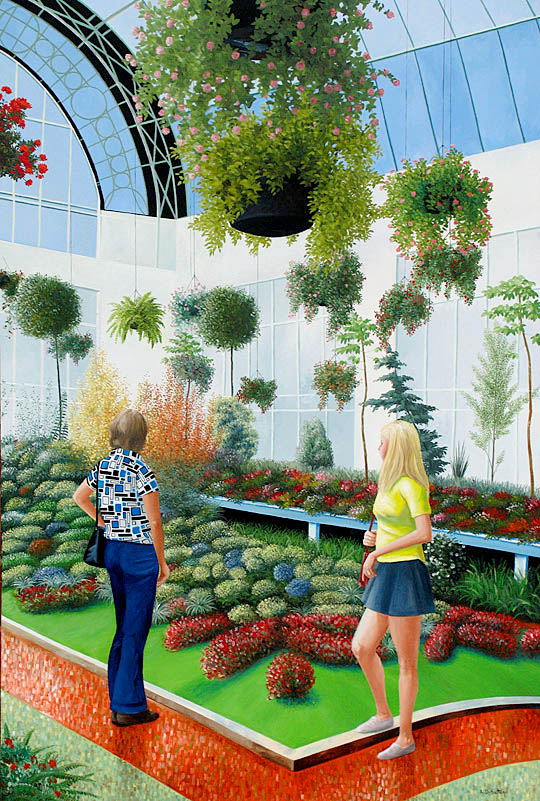 Painting of botanical Winter Gardens in New Zealand