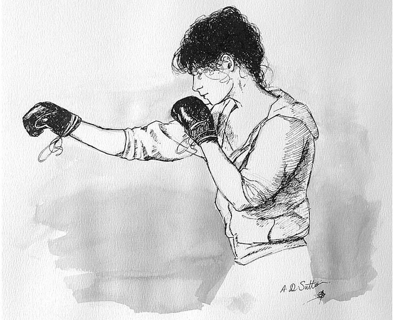 Woman Boxer Art