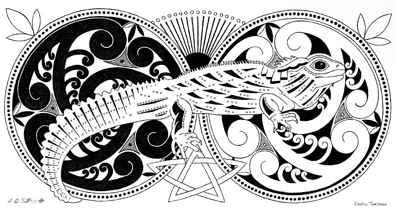 modern celtic tuatara art