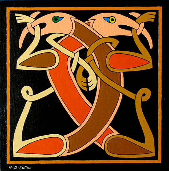 Painting of Celtic dog design