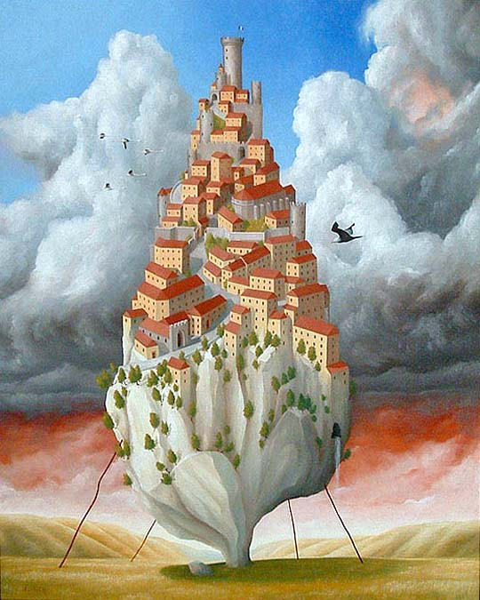 Surrealist Painting of Cordes sur Ciel