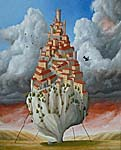 Surrealist painting of French town