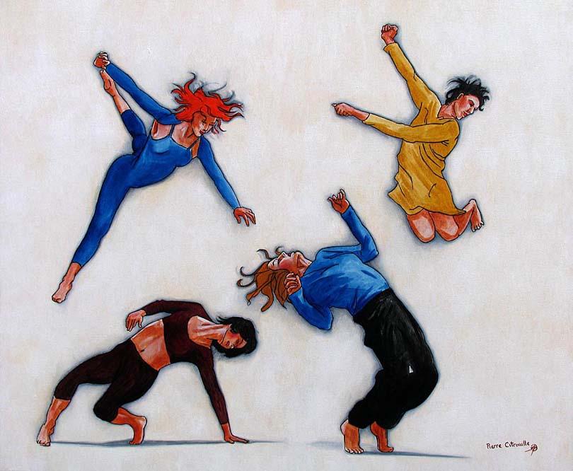 modern artwork of dancers in motion
