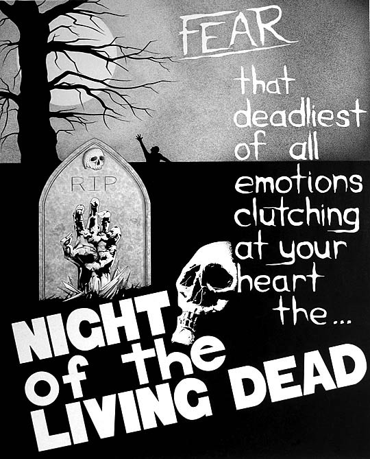 horror poster art for Night of the Living Dead