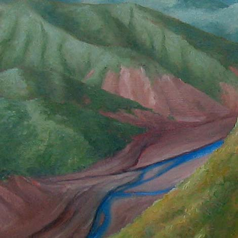 detail of river in the artwork