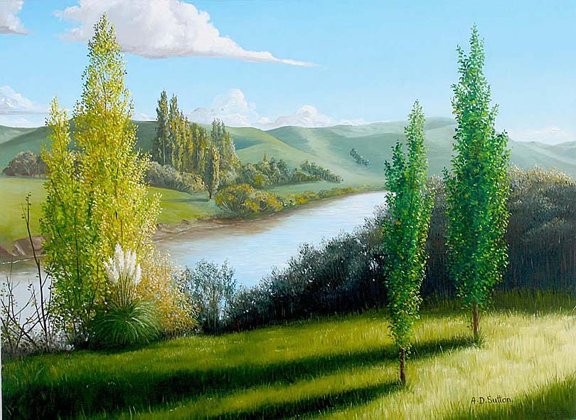 New Zealand river landscape art