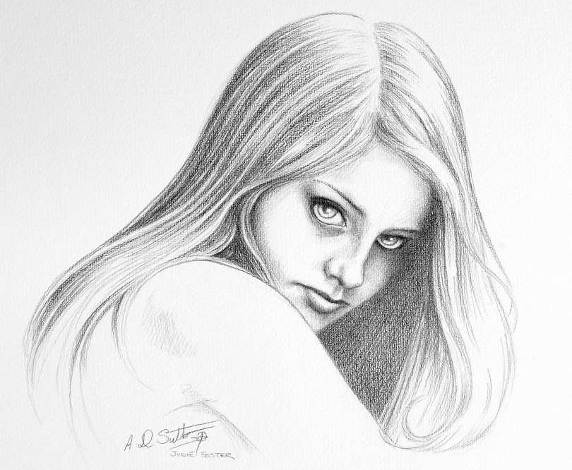pencil drawing of actress Jodie Foster