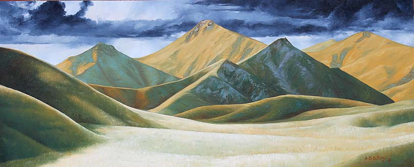New Zealand landscape painting of Lindis Pass