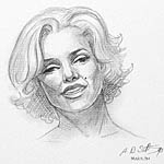 Portrait drawing of Marilyn Monroe