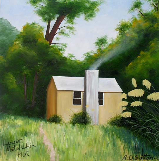 New Zealand forest hut artwork