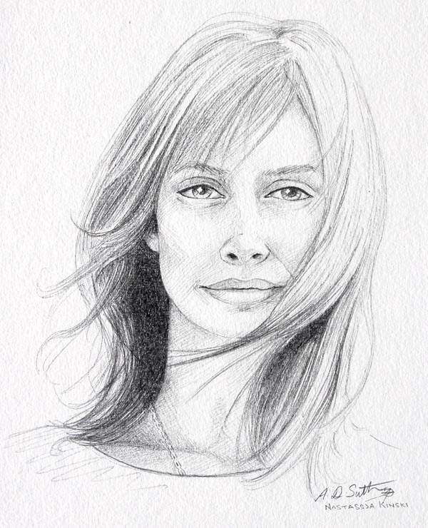 Pencil portrait of Nastassia Kinski