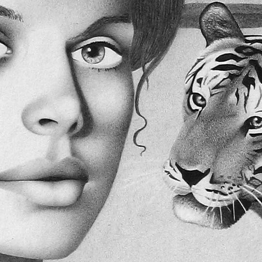 detail of nastassja kinski portrait drawing
