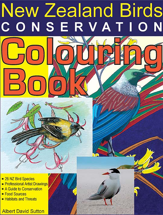 New Zealand birds coloring book cover