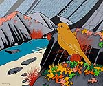 modern painting of New Zealand Robin