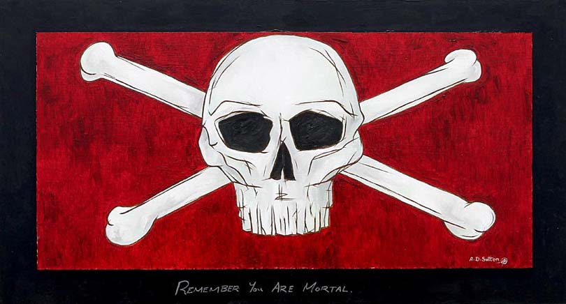 modern artwork of skull and crossbones