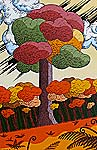 modern painting of New Zealand Kauri tree