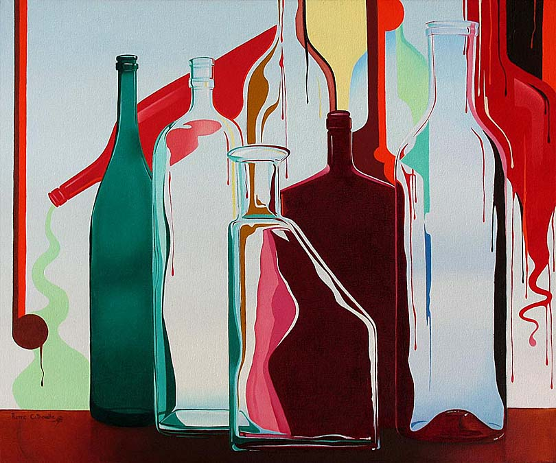 contemporary painting of glass bottles