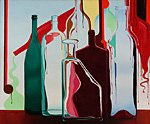 Modern abstract artwork of bottles