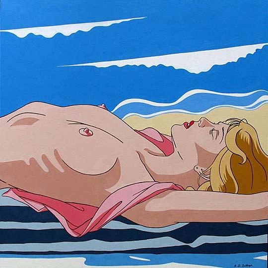 modern nude topless sunbather artwork