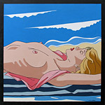 Painting of Topless Sunbather