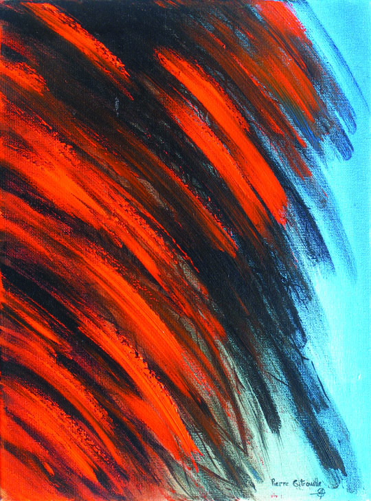 abstract art in orange and blue