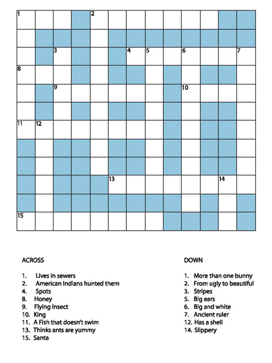 Animals Crossword For Kids
