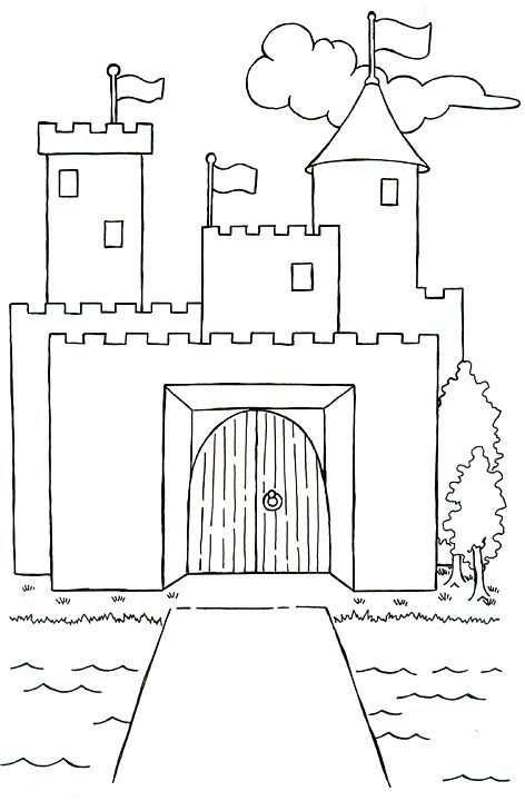 Castle With Flags And Moat Drawing For Coloring