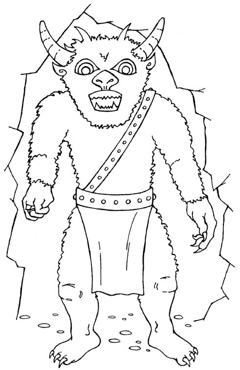 cave monster colouring picture