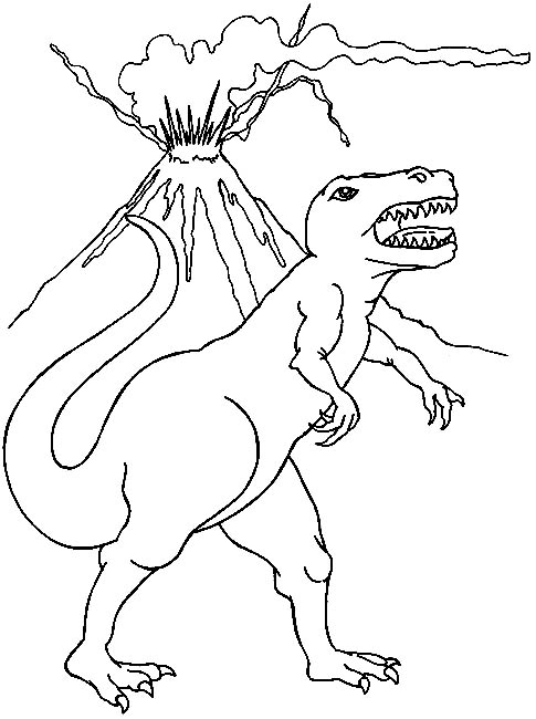 Dinosaur And Volcano Coloring Pages Right Click Picture to Print