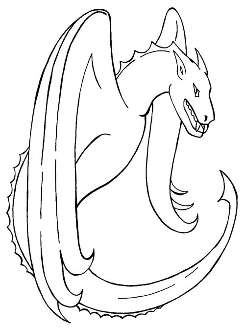 A fierce dragon for colouring in