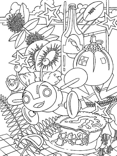 New Zealand kiwiana free colouring in page from Impressions of New