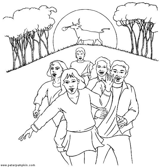 colouring picture of kids running