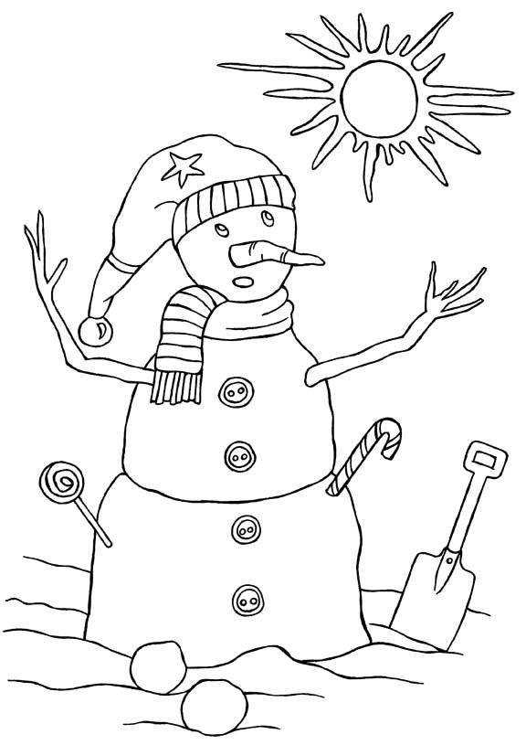 snowman colouring picture