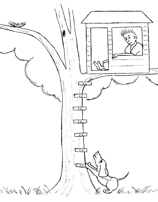 tree house drawing for coloring