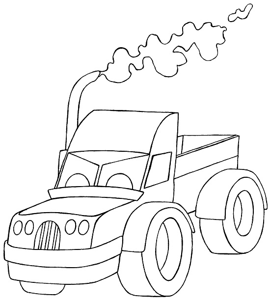 Monster truck blowing smoke drawing for coloring